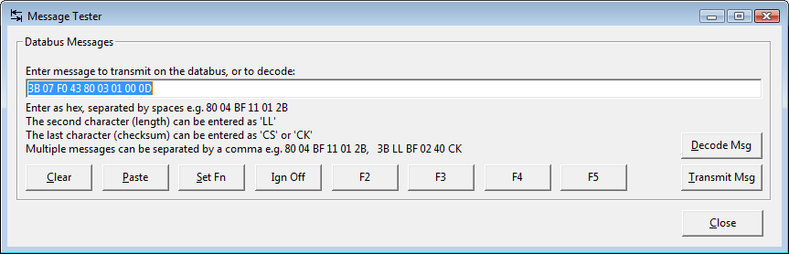 Screenshot of Message Tester dialog