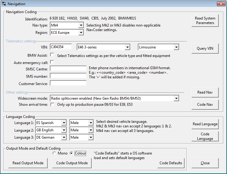 Screenshot of Navigation coding dialog