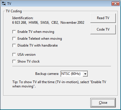 Screenshot of TV coding dialog